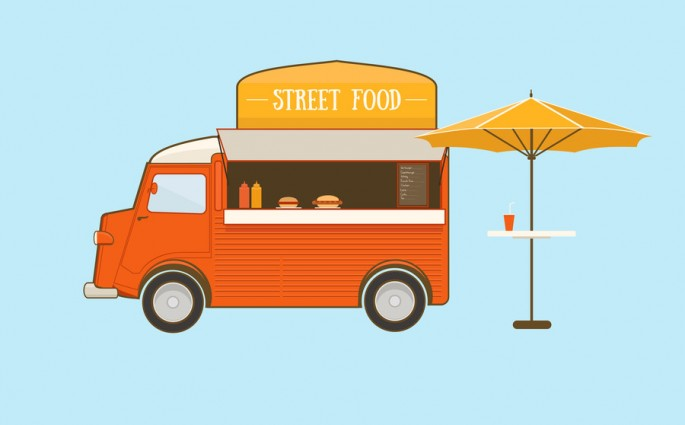 Street food truck with umbrella